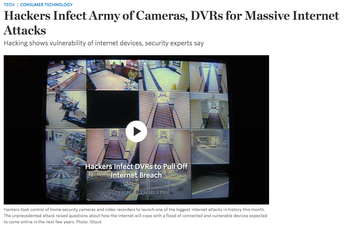 security camera hacks and botnets, WSJ