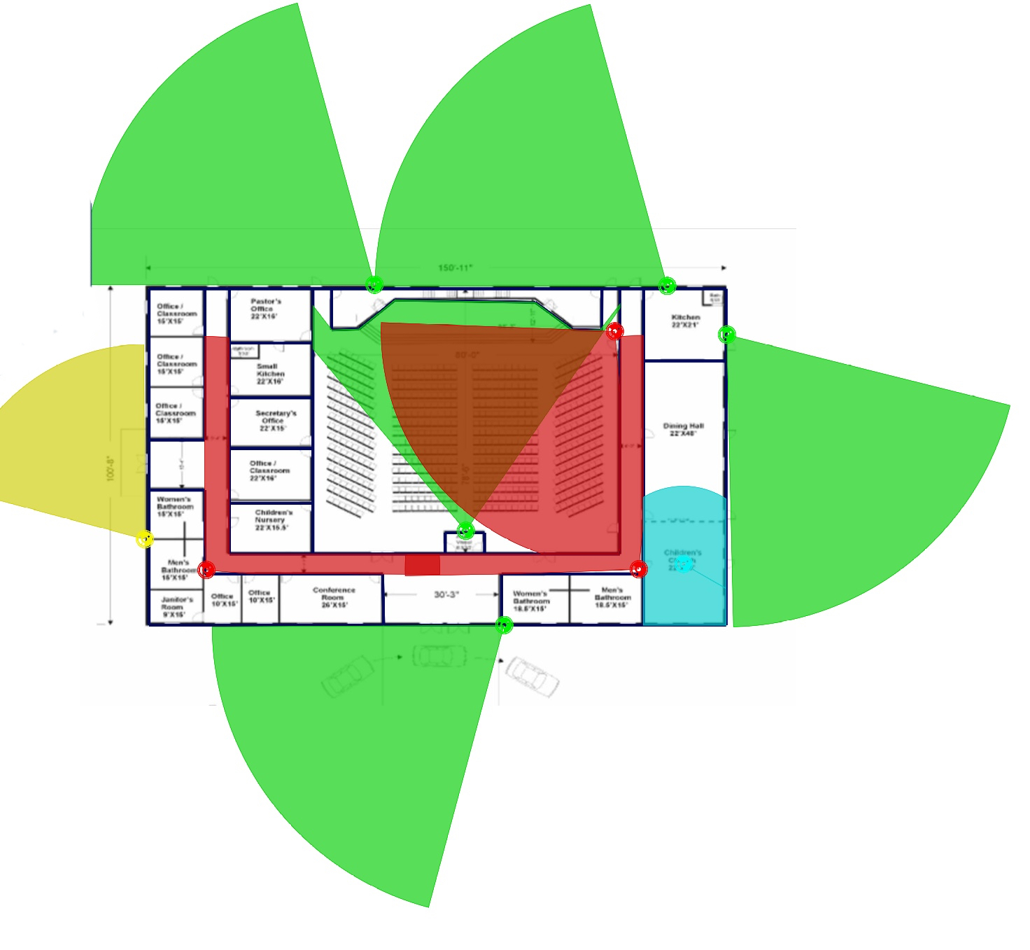 church security camera floorplan