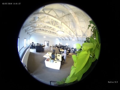 fisheye view from the radius 360 degree panoramic camera mounted on a wall mount