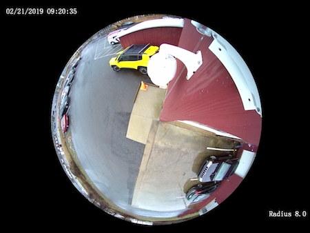 fisheye view of the radius 360 degree panoramic camera mounted on a corner wall mount