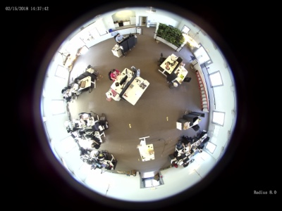 fisheye view from the radius 360 degree panoramic camera when mounted on a corner wall mount