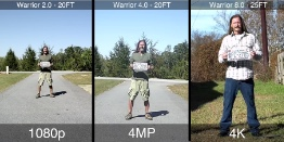 1080 vs 4mp vs 4k 25 foot distance
