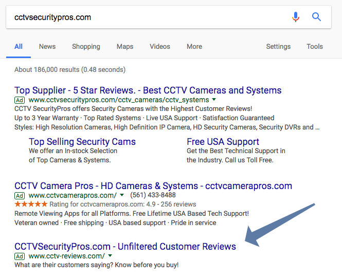 Google CCTV Security Pro get CCTV-Reviews.com advertisement