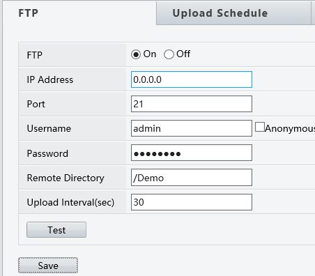 snapshot FTP settings
