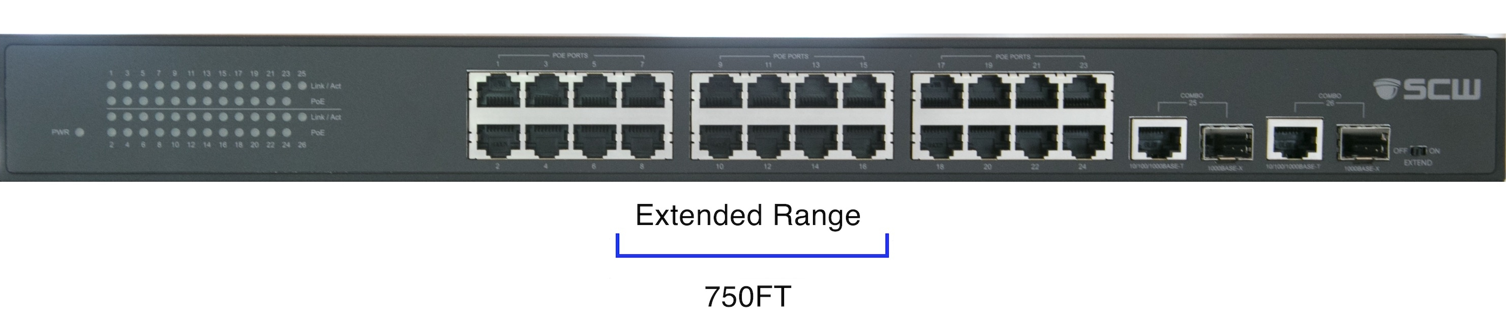 SCW 24 Port PoE Switch with Extended Transmission - SW24PEXT