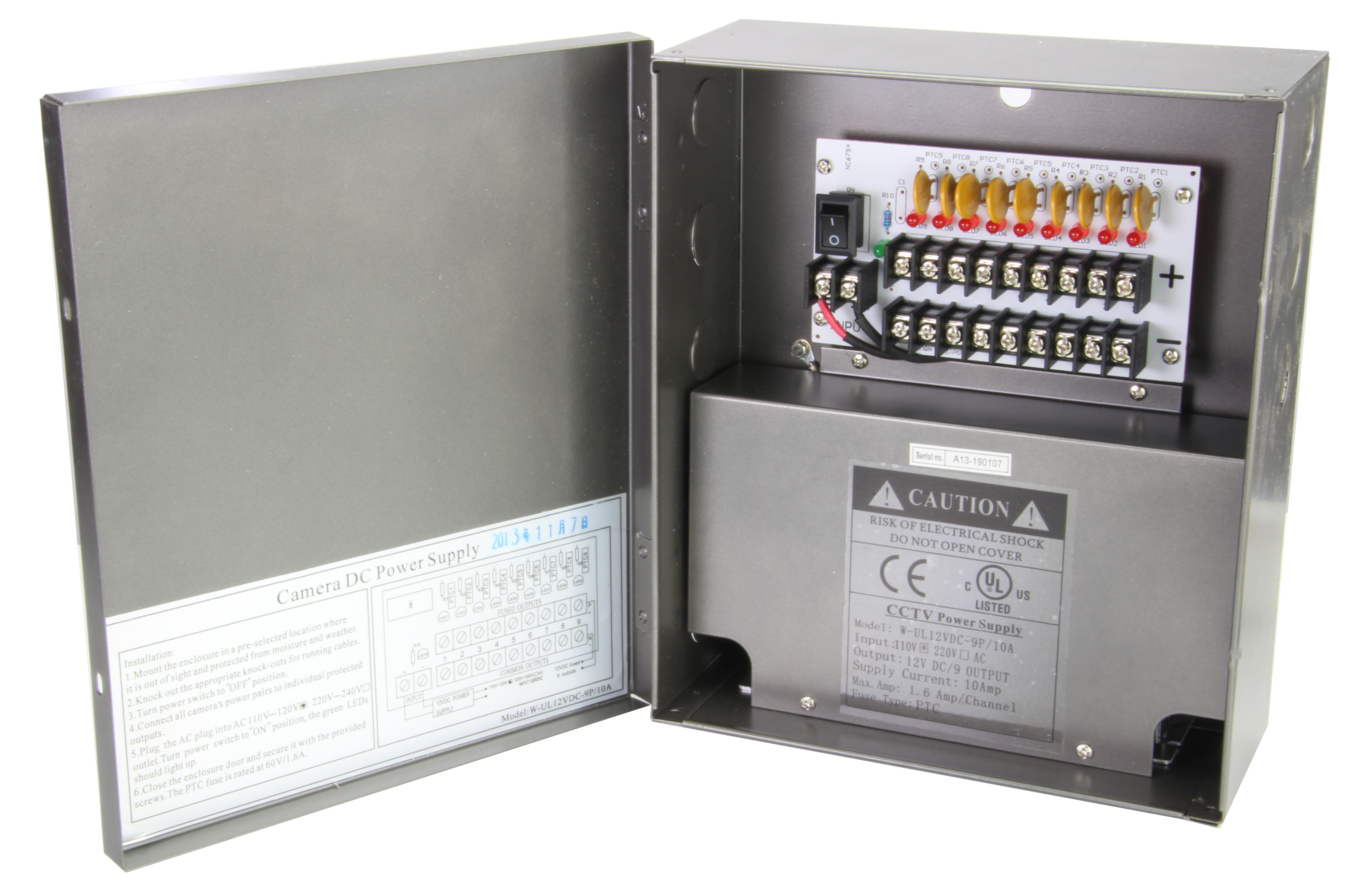 9 Port 10 Amp Power Distribution Box SCW-PX-9P10A