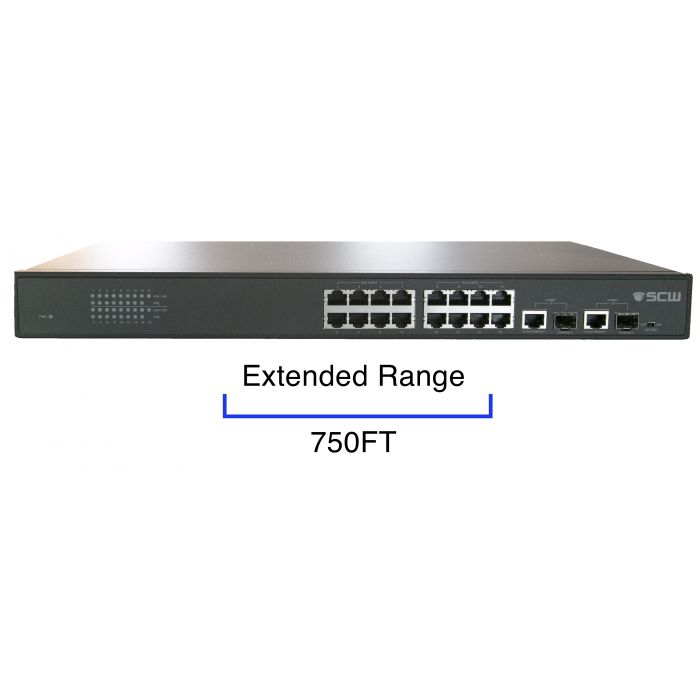 SCW 16 Port PoE Switch with Extended Transmission - SW16PEXT
