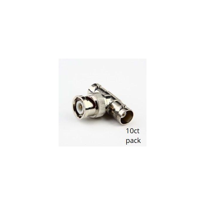 BNC T Connectors, 1 BNC Male to 2 BNC Female (10pk) SCW-C107